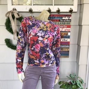 Maeve Anthropologie Sweater Purple Floral